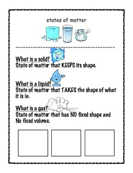 States of Matter with a graphic organizer