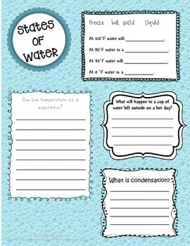 *FREEBIE* States of Water Worksheet