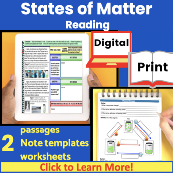 States of matter and Physical Changes Guided Reading