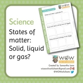 States of matter; solid, liquid or gas.