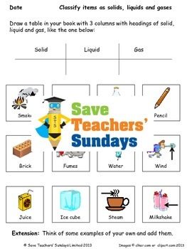States of Matter: Solids, Liquids and Gases Lesson Plan, PowerPoint & Worksheet