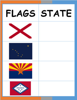 States of the USA (Flags) Activity Sheet
