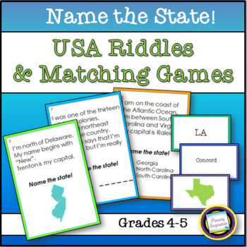 States of the USA~ Name the State Riddles and Games