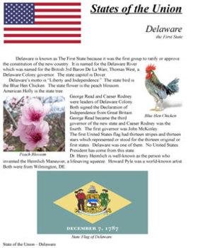 States of the Union - DE, PA, NJ, GA, CT