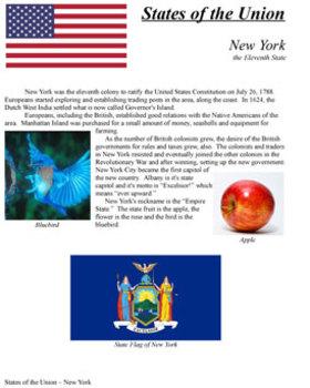 States of the Union - NY, NC, RI, VT, KY