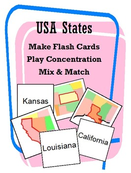 States of the United States (Concentration/Flash Cards/Mix and Match)