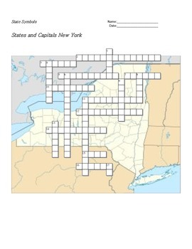 States and Capitals - New York State Symbols Crossword Puzzle