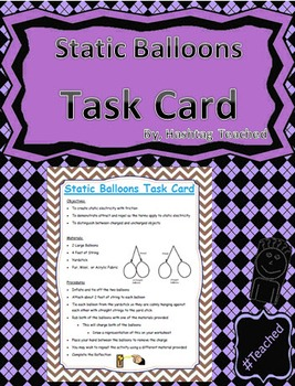 Static Balloons Science Task Card Activity