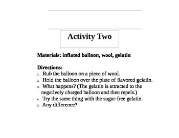 Static Electricity Activities & Lab