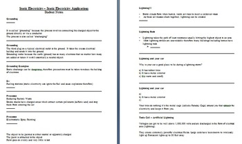 Static Electricity Applications - Electricity PowerPoint Lesson & Student Notes