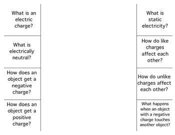 Static Electricity - Assessment Activity