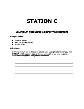 Static Electricity Experiment Packet
