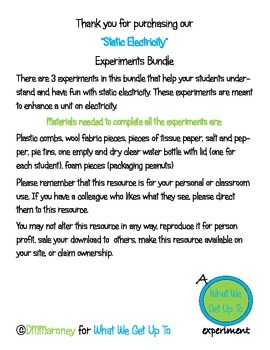 Static Electricity Experiments Bundle
