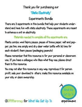 Static Electricity Experiments Bundle