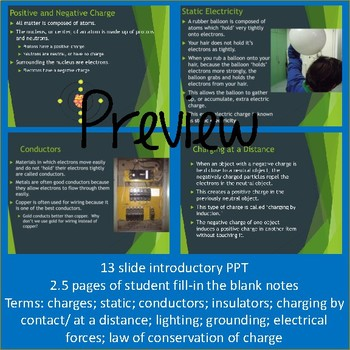 Static Electricity: Introductory PPT and Student Notes