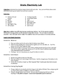 Static Electricity Lab and Lab Sheet S5P2