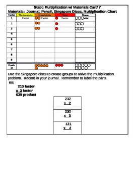 Static Multiplication Center Cards
