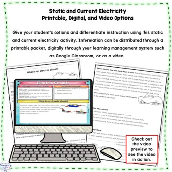 Static and Current Electricity Printable Digital and Video Nonfiction Packet