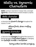 Static vs. Dynamic Characters Anchor Chart