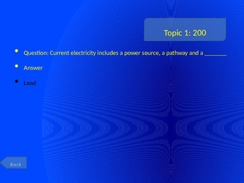 Static/Current Electricity Jeopardy Game