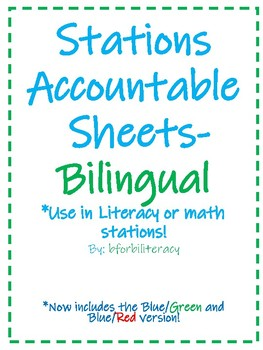 Station Accountablity Sheets-Bilingual 2 Fonts!