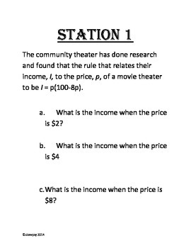Station Activity: Evaluating Formulas in Word Problems