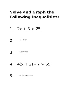 Station Activity for Inequalities Continued
