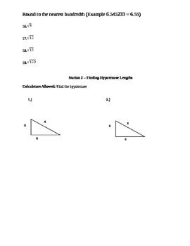 Station Activity for square roots and pythagorean theorem
