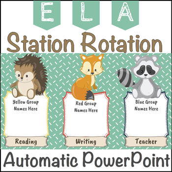 Station / Center Rotation Automatic PowerPoint (Woodland Themed)