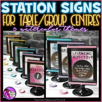 Station Center signs for the classroom