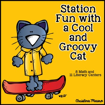 Station Fun with a Cool and Groovy Cat (Math & Literacy Stations)