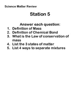 Station/Group Work about Matter (review for chapter about matter)