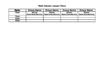 Station Lesson Plan