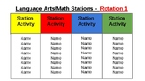 Station Rotation chart for Language Arts/Math Centers