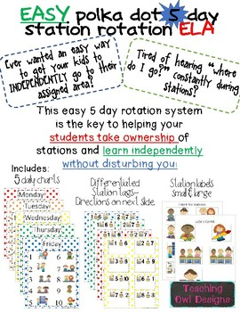 Station Rotation charts for centers! Easy & INDEPENDENT! Polka dots 5 days