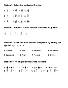 Station Rotations: Fractions!