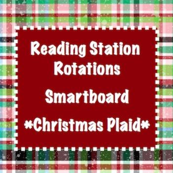 Station Rotations SmartBoard - Christmas Plaid - Centers