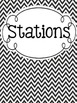 Station Signs - Black & White Chevron