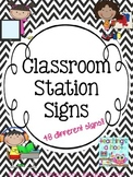 Station Signs - Black & White Chevron
