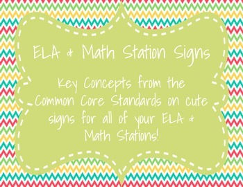 Station Signs: ELA & Math Common Core