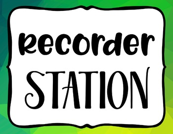 Station Signs for Music Centers - Elementary Music Learning Centers