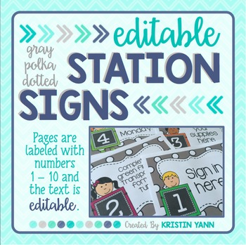 Station Signs or Center Task Cards, Gray Polka Dots (EDITABLE)