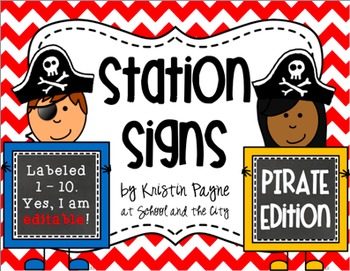 Station Signs or Center Task Cards, Pirates & Chevron (EDITABLE)