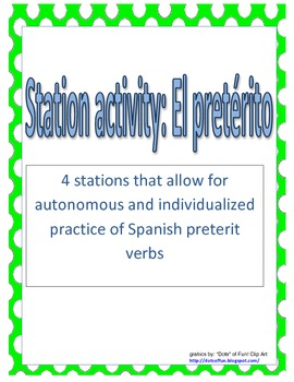 Station activity for el pretérito or the past tense in Spanish