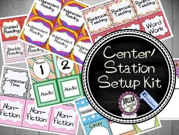 Station/Center Labels Startup Kit {Including an Editable Version}