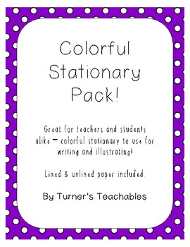 Stationary Pack - Colorful Lined & Blank Paper!