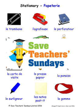 Stationary in French Worksheets, Games, Activities and Flash Cards