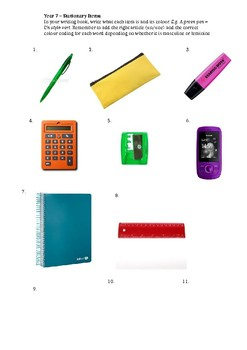 Stationary items - French