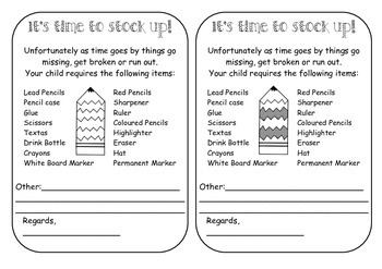 Stationery Stock Up Note