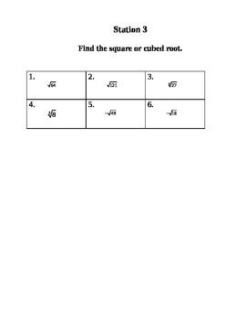Stations 1-8 Fractions, Decimals, Square and Cubed Roots